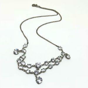 🆕Vintage Silver & Bezel-Set Crystal Necklace